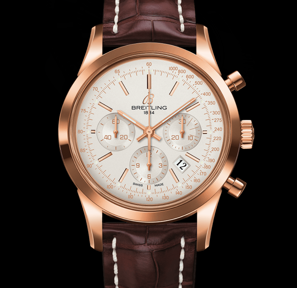 Breitling Westchester Woodrow Jewelers Transocean in Gold and Brown
